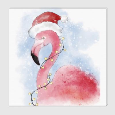 Холст Фламинго в шапке Санты