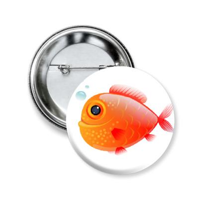 Значок 50мм Довольная рыба