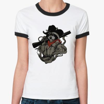 Женская футболка Ringer-T Енот с ружьём