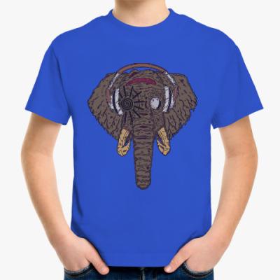Детская футболка Слон в наушниках