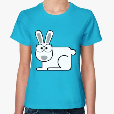 Женская футболка  Белый кролик