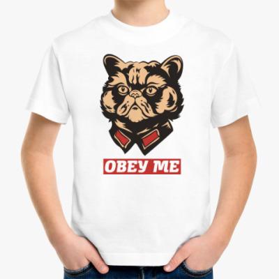 Детская футболка Obey the kitty.