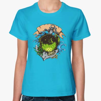 Женская футболка Море. Якорь. Рыба.