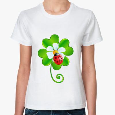 Классическая футболка Божья коровка и клевер
