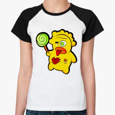 Женская футболка реглан Чудик с конфетой