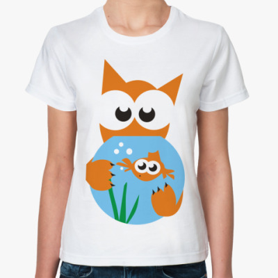 Классическая футболка Кот и рыбка