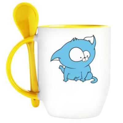 Кружка с ложкой  Милый котенок