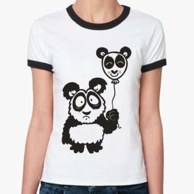 Женская футболка Ringer-T Панда с шариком