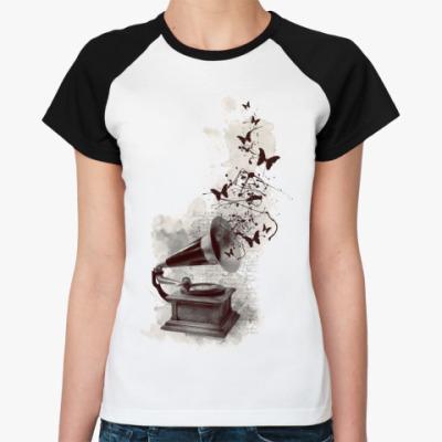Женская футболка реглан патефон