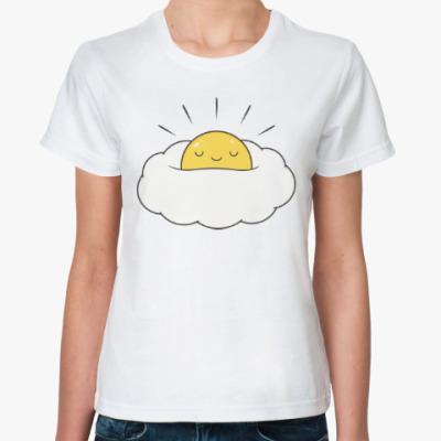 Классическая футболка Солнце в облаке