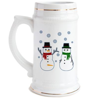Пивная кружка Happy Snowman