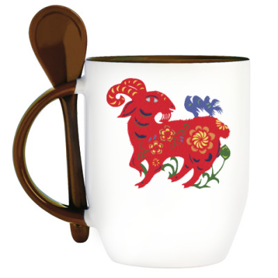 Кружка с ложкой Баран из сказки с цветами и птицами