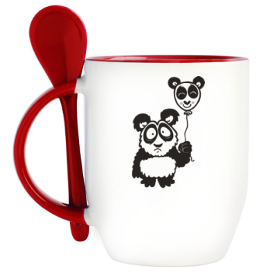 Кружка с ложкой Панда с шариком