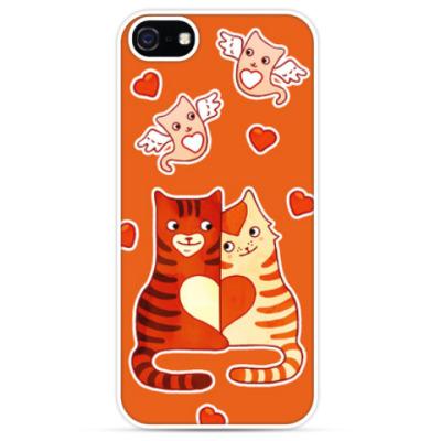 Чехол для iPhone Котики, амурчики, сердечки