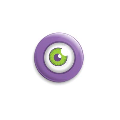 Значок 25мм Eye green