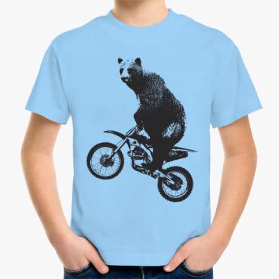Детская футболка Медведь на мотоцикле