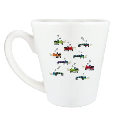 Чашка Латте детский рисунок транспорт