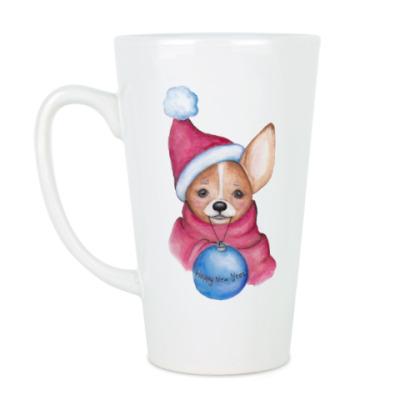 Чашка Латте Новогодняя собачка с шариком