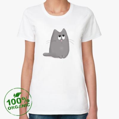 Женская футболка из органик-хлопка Котяшка-милашка