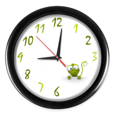 Настенные часы Выглядывающая ящерица
