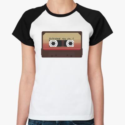Женская футболка реглан Кассета - стражи галактики