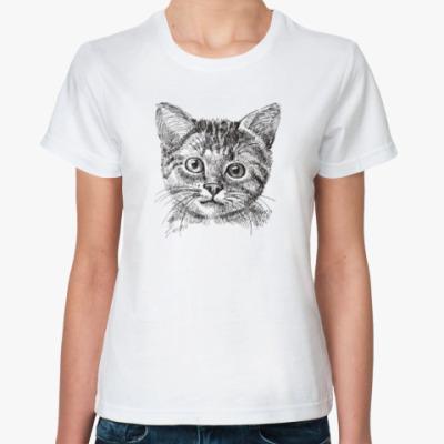 Классическая футболка Кот. Кошка. Cat. Kitty.