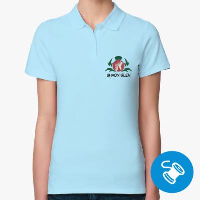 Женская рубашка поло Женская рубашка поло Fruit of the Loom, голубая (вышивка)