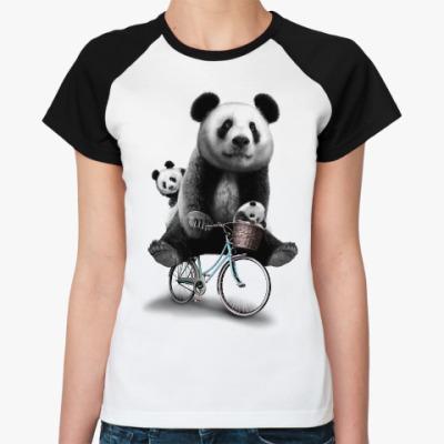 Женская футболка реглан Панды на велосипеде