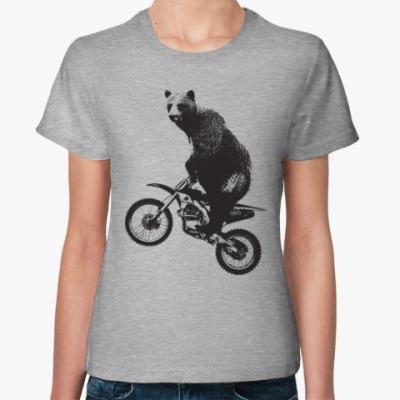 Женская футболка Медведь на мотоцикле