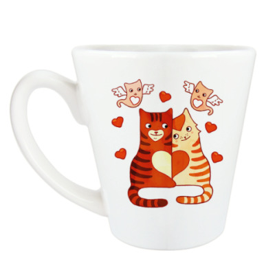Чашка Латте Котики, амурчики, сердечки