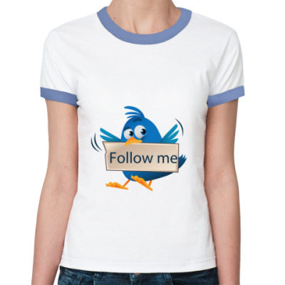 Женская футболка Ringer-T Follow me Twitter