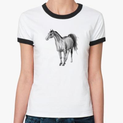 Женская футболка Ringer-T Лошадь