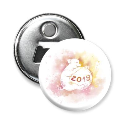 Магнит-открывашка Новогодняя свинка 2019