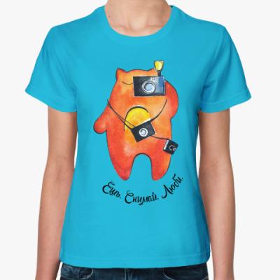 Женская футболка Ешь. Снимай. Люби.