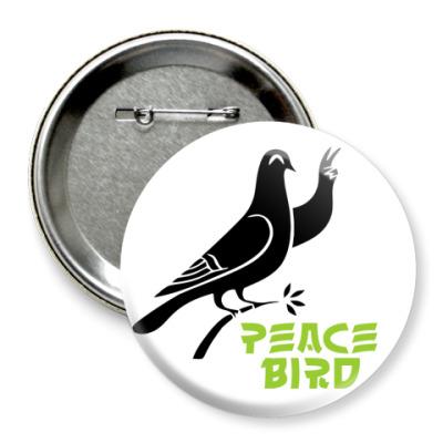 Значок 75мм Peace Bird