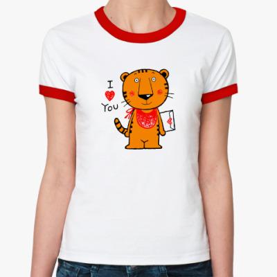 Женская футболка Ringer-T Tiger in Love