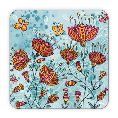 Костер (подставка под кружку) Цветы и бабочки