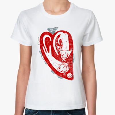 Классическая футболка Сердце и кошки