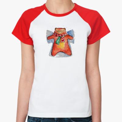Женская футболка реглан Снежный Кот