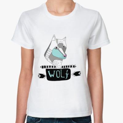 Классическая футболка  'Волк'