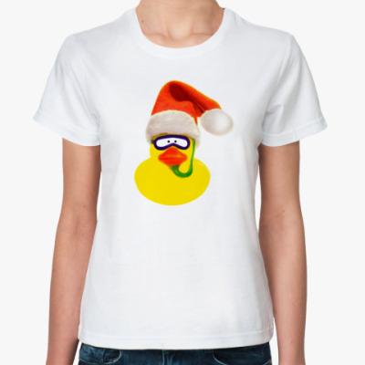 Классическая футболка Новогодняя Уточка