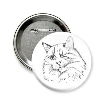 Значок 58мм Хитрый кот