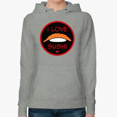 Женская толстовка худи Я люблю суши