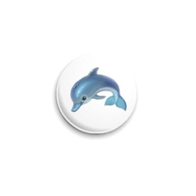 Значок 25мм Дельфин