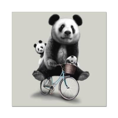 Наклейка (стикер) Панды на велосипеде