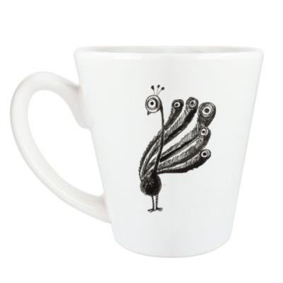Чашка Латте павлин