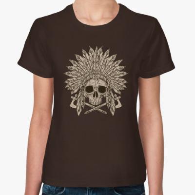 Женская футболка Череп индейца