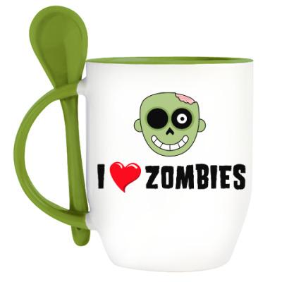 Кружка с ложкой I love zombies