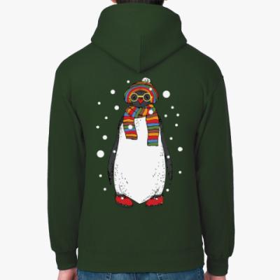 Толстовка худи Новогодний пингвин в шапке