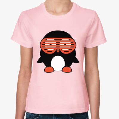 Женская футболка Пингвин в очках жалюзи